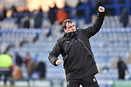 Blackpool Manager, Gary Bowyer celebrates the win at full time during the EFL Sky Bet League 1 match between Portsmouth and Blackpool at Fratton Park, Portsmouth, England on 24 February 2018. Picture by Adam Rivers.