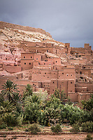 Ksar of Ait-Ben-Haddou is a fortified village surrounded by defensive walls and reinforced with corner towers.