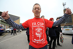 Lincoln City fan David Fox before departing from Sincil Bank in Lincoln for the Emirates FA Cup match with Arsenal.