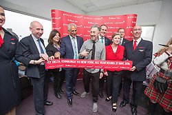 Alan Cumming, cuts the ribbon, as Delta launches their year-round nonstop service from Edinburgh to New York-JFK today at Edinburgh Airport.