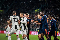 November 27, 2018 - Turin, Piedmont/Turin, Italy - Cristano Ronaldo and Leonardo Bonucci of Juventus have a fight against Diakhaby of Valencia during the Champions League match Juventus vs Valencia. Juventus won 1-0 at Allianz Stadium in Turin on the 27th november 2018  (Credit Image: © Alberto Gandolfo/Pacific Press via ZUMA Wire)