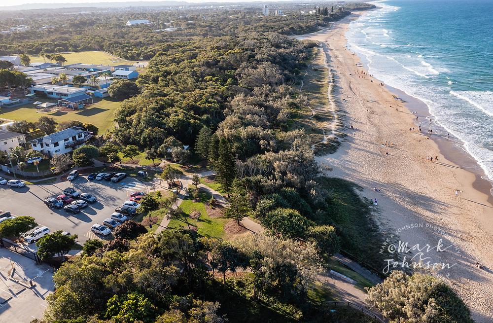 Ballinger Beach, Australia-21 August 2021: Aerial view of Ballinger Beach, Sunshine Coast, Queensland, Australia