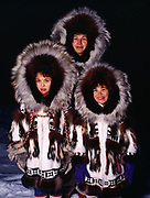 The Rexford family wearing Eskimo parkays made by Nora Rexford, Arctic Ocean Coast, Barrow, Alaska.<br /> Please note:  Use of this photo requires that a small extra licensing fee be paid to the Rexford family appearing in the image.  Please contact Fred Hirschmann for information.