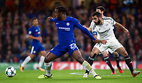 Chelsea's Michy Batshuayi holds off the challenge from Qarabag's Rashad F. Sadygov <br /> <br /> Photographer Ashley Western/CameraSport<br /> <br /> UEFA Champions League - Chelsea v FK Qarabag - Tuesday 12th September 2017 - Stamford Bridge - London<br />  <br /> World Copyright © 2017 CameraSport. All rights reserved. 43 Linden Ave. Countesthorpe. Leicester. England. LE8 5PG - Tel: +44 (0) 116 277 4147 - admin@camerasport.com - www.camerasport.com