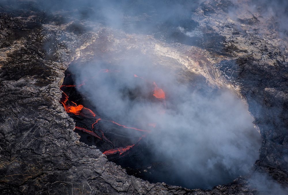 The new lava flow from Hawaii's Big Island meets the ocean.