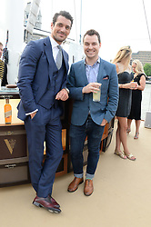 The Johnnie Walker Blue Label and David Gandy Drinks Reception aboard John Walker & Sons Voyager, St.Georges Stairs Tier, Butler's Wharf Pier, London, UK on 16th July 2013.<br /> Picture Shows:-David Gandy & Gareth Evans.