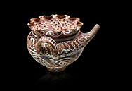 """Minoan Kamares Ware beak spouted """"teapot"""" with herb strainer and  polychrome decorations, Phaistos 1800-1650 BC; Heraklion Archaeological  Museum, black background.<br /> <br /> This style of pottery is named afetr Kamares cave where this style of pottery was first found .<br /> <br /> If you prefer to buy from our ALAMY PHOTO LIBRARY  Collection visit : https://www.alamy.com/portfolio/paul-williams-funkystock/minoan-art-artefacts.html . Type -   Heraklion   - into the LOWER SEARCH WITHIN GALLERY box. Refine search by adding background colour, place, museum etc<br /> <br /> Visit our MINOAN ART PHOTO COLLECTIONS for more photos to download  as wall art prints https://funkystock.photoshelter.com/gallery-collection/Ancient-Minoans-Art-Artefacts-Antiquities-Historic-Places-Pictures-Images-of/C0000ricT2SU_M9w"""