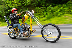 Xavier Muriel riding the Little Twisted Twisted Tea chopper on the Gypsy Tour ride to the Gunstock resort during Laconia Motorcycle Week. NH, USA. Thursday, June 14, 2018. Photography ©2018 Michael Lichter.