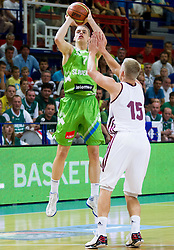 Klemen Prepelic of Slovenia vs Arturs Bremers of Latvia during basketball match between National teams of Latvia and Slovenia in Qualifying Round of U20 Men European Championship Slovenia 2012, on July 16, 2012 in Domzale, Slovenia. Slovenia defeated Latvia 69-62. (Photo by Vid Ponikvar / Sportida.com)
