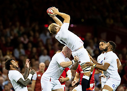 Joe Launchbury of England claims the high ball<br /> <br /> Photographer Simon King/Replay Images<br /> <br /> Friendly - Wales v England - Saturday 17th August 2019 - Principality Stadium - Cardiff<br /> <br /> World Copyright © Replay Images . All rights reserved. info@replayimages.co.uk - http://replayimages.co.uk