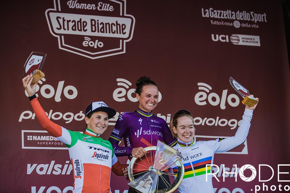 podium:  <br /> 1st place: Chantal van den Broek-Blaak (NED/SDWorx)<br /> 2nd place: Elisa Longo Borghini (ITA/Trek Segafredo)<br /> 3th place: Anna van der Breggen (NED/SD Worx)<br /> <br /> 7th Strade Bianche Women Elite <br /> Siena > Siena 136km<br /> <br /> ©RhodePhoto