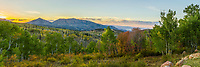 Panoramic sunset view from the Nebo Scenic Loop in Utah during Fall color season.