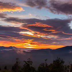 Sunrise view over the Reddington Forest of the Bigelow Range (left) and Crocker Mountain (right) from Quill Hill in Reddington Township, Maine. Appalachian Trail.