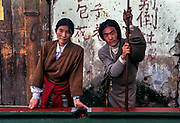 Tibetans playing pool outdoors, in the Barkhor district, Lhasa, Tibet
