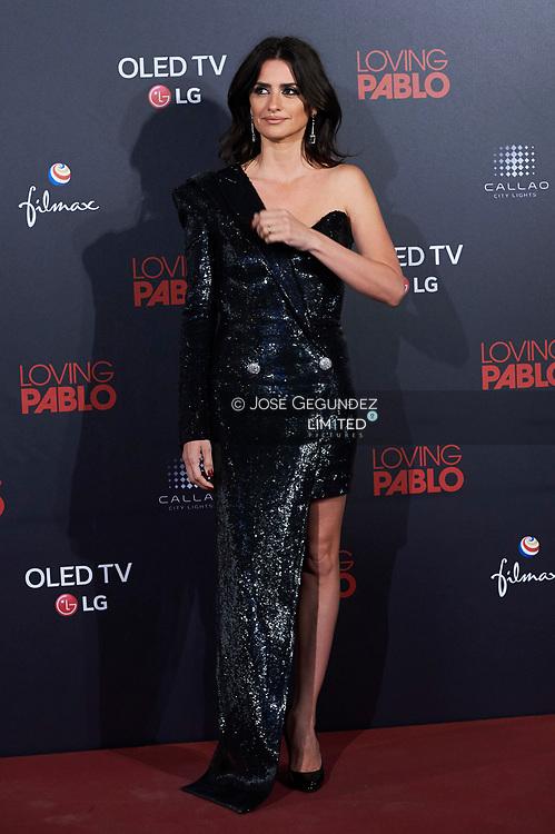 Penelope Cruz attends 'Loving Pablo' Premiere at Callao Cinema on March 7, 2018 in Madrid, Spain