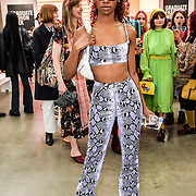 Lala Roswess Jordan Onyeka is a model Attendees at the Graduate Fashion Week 2019 - Day Three, on 2 June 2019, Old Truman Brewery, London, UK.