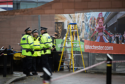 © Licensed to London News Pictures . 30/09/2017. Manchester, UK.  Police and security outside the Manchester Central Convention Centre as Manchester prepares for the Conservative Party Conference , which is taking place inside a secured zone around the Manchester Central Convention Centre . Photo credit: Joel Goodman/LNP
