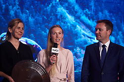Hannah Barnes (GBR) talks to the crowd at The UCI Cycling Gala 2018 in Guilin, China on October 21, 2018. Photo by Sean Robinson/velofocus.com
