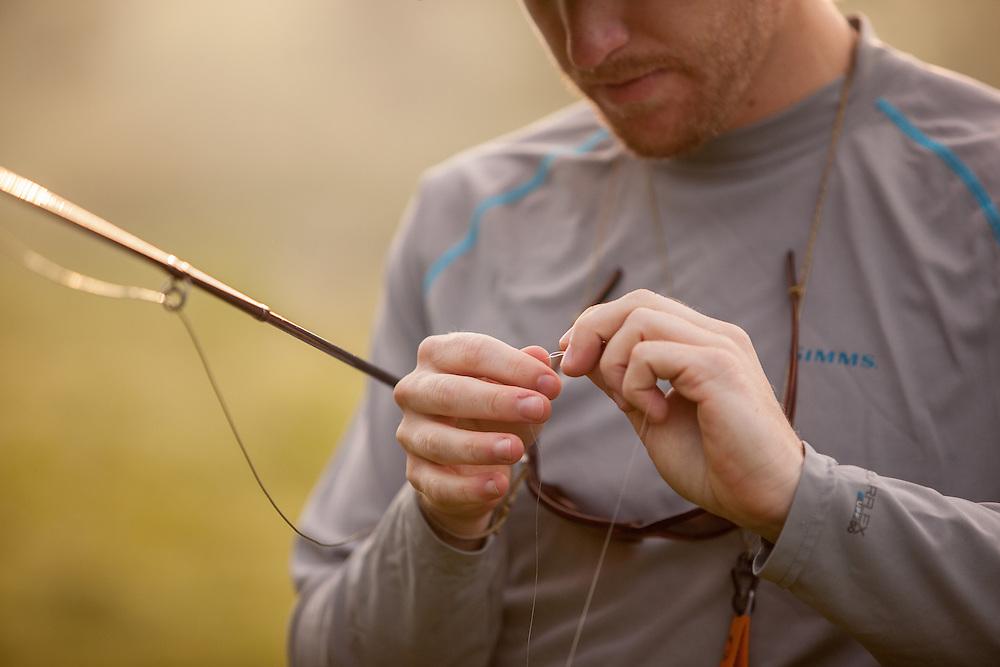 Fly Fisherman trout fishing Public Waters of Mossy Creek.