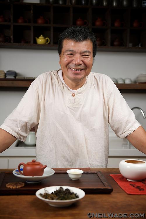 Lu Li-Hsien serves tea in Chen Wey Tea Room, on Dihua Street.