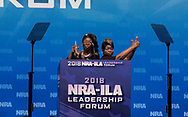 Lynette Hardaway and Rochelle Richardson, also known as Diamond and Silk, speak at the NRA-ILA Leadership Forum during the NRA Annual Meeting & Exhibits on <br /> May 4, 2018 in Dallas, Texas at the Kay Bailey Hutchison Convention Center.