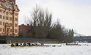 London. UNITED KINGDOM.   Tideway Week. 159th BNY Mellon Boat Race on the Championship Course, River Thames, Putney/Mortlake.  Saturday  30/03/2013    [Mandatory Credit. Intersport Images]..The 18th Oxford & Cambridge Veterans' Race.From Putney Stone to Furnivall Steps...Cambridge lead Oxford..Cambridge.Bow, Magnus Burbanks, 2, Piers Curle, 3, Peter Jacobs, 4, Lucas Hirst, 5, Guy Pooley, 6, Matt Parish, 7, Stephen Peel, Stroke, Sean Gorvy, Cox, Liz Box..Oxford.Bow, Hugh Pelham, 2, G. R. Nicholas Holland, 3, Ed Bellamy, 4, Andrew Landon-Green, 5, Jonny Searle, 6, Jeremy Howick, 7, Jan Herzog, Stroke, Kingsley Poole, Cox, Zoe de Toledo