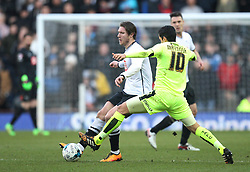 Jeff Hendrick of Derby County (L) and Karim Matmour of Huddersfield Town in action - Mandatory byline: Jack Phillips/JMP - 05/03/2016 - FOOTBALL - iPro Stadium - Derby, England - Derby County v Huddersfield Town - Sky Bet Championship