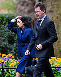 © Licensed to London News Pictures. 08/03/2017. London, UK. Secretary of State for International Development PRITI PATEL (L) and Attorney General JEREMY WRIGHT arrive on Downing Street for a cabinet meeting before British chancellor Philip Hammond delivers his 2017 Budget to Parliament. Photo credit: Ben Cawthra/LNP