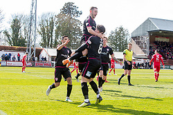 Arbroath's Ryan Wallace scoring their goal. half time : Brechin City 1 v 1 Arbroath, Scottish Football League Division One played 13/4/2019 at Brechin City's home ground Glebe Park.