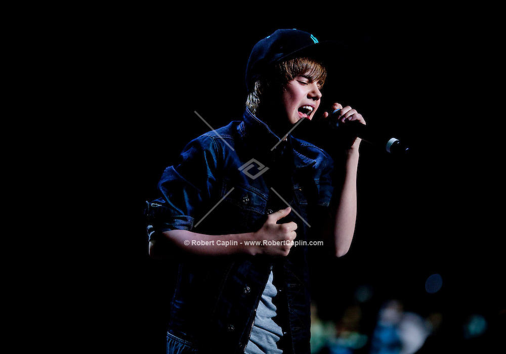 Justin Bieber performs at the 2009 Z100's Jingle Ball at Madison Square Garden in New York. ..(Photo by Robert Caplin)..