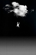 Digital work with a man falling out of the sky into an abstract sea