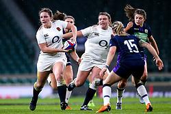 Sarah Beckett of England Women takes on Chloe Rollie of Scotland Women - Mandatory by-line: Robbie Stephenson/JMP - 16/03/2019 - RUGBY - Twickenham Stadium - London, England - England Women v Scotland Women - Women's Six Nations