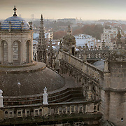 View across Cathedral roof, Seville, Spain (January 2007)