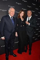 Left to right, NICOLA BULGARI, CARLA SARKOZY and Bulgari CEO JEAN CHRISTOPHE BABIN at the launch of the new Bulgari flagship store at 168 New Bond Street, London on 14th April 2016.