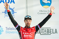 Third placed MUGERLI Matej (SLO)  of BMC Amplatz celebrates during trophy ceremony after the UCI Class 1.2 professional race 4th Grand Prix Izola, on February 26, 2017 in Stunjan, Slovenia. Photo by Vid Ponikvar / Sportida