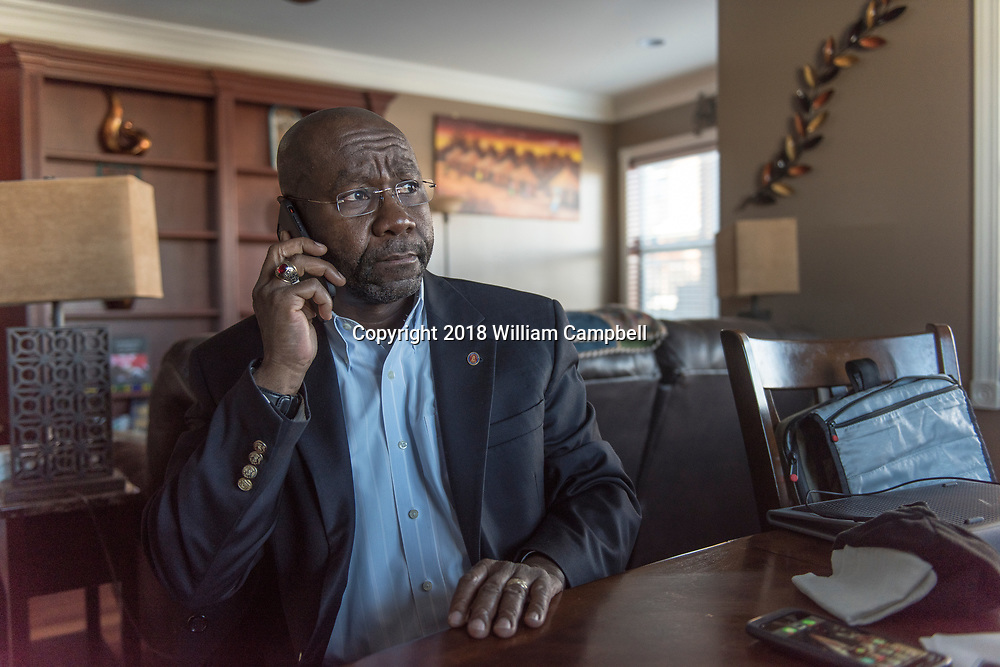 HELENA,MT-JANUARY 31-Wilmot Collins, the newly elected Mayor of Helena, Montana take a phone call at home. <br /> <br /> Wilmot Collins, 54, is a former Liberian refugee who recently defeated a four-term incumbent to become Mayor of Helena, Montana, the state's capital city. Collins is Montana's first elected black mayor since statehood. Mayor Collins arrived in the United States in 1994 as a refugee from the brutal Liberian civil war, joining his wife, Maddie, a medical student who arrived ahead of him. Mr. Collins became a United States citizen in 2001. He has served in the US military for 22 years in the Army, Army Reserve, and currently Navy Reserve. Mr. Collins is a child protection specialist with the Montana Department of Child and Family Services and an adjunct professor at the Helena College of the University of Montana.