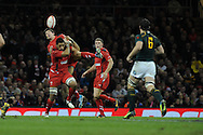 Wales players Toby Faletau and James Hook get tangled as they jump for same high ball.Autumn International rugby, 2013 Dove men series, Wales v South Africa at the Millennium Stadium in Cardiff,  South Wales on Saturday 9th November 2013. pic by Andrew Orchard, Andrew Orchard sports photography,
