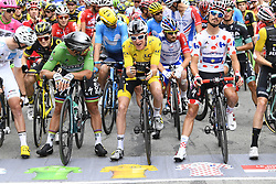 July 20, 2018 - Valence, France - VALENCE, FRANCE - JULY 20 :   SAGAN Peter (SVK) of Bora - Hansgrohe, THOMAS Geraint (GBR) of Team SKY, ALAPHILIPPE Julian (FRA) of Quick - Step Floors during stage 13 of the 105th edition of the 2018 Tour de France cycling race, a stage of 169.5 kms between Bourg d'Oisans and Valence on July 20, 2018 in Valence, France, 20/07/2018 (Credit Image: © Panoramic via ZUMA Press)