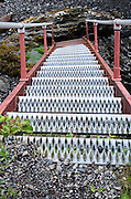 Access to the East Quoddy Lighthouse (the Head Harbor Light) requires climbing several sets of steep metal stairs at low tide.