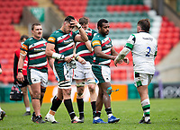 Rugby Union - 2020 / 2021 ER Challenge Cup - Quarter-Final - Leicester Tigers  vs Newcastle Falcons - Welford Road<br /> <br /> The players shake hands after the game<br /> <br /> Credit : COLORSPORT/BRUCE WHITE