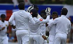 November 6, 2018 - Galle, Sri Lanka - Sri Lankan cricketer Rangana Herath celebrates after taking a wicket during the 1st day's play of the first test cricket match between Sri Lanka and England at Galle International cricket stadium, Galle, Sri Lanka on November 6, 2018  (Credit Image: © Tharaka Basnayaka/NurPhoto via ZUMA Press)