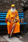 An old monk at the Dalai Lama's temple, Dharamsala, Himachal Pradesh, India
