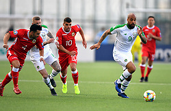 Republic of Ireland's David McGoldrick (right) in action during the UEFA Euro 2020 Qualifying, Group D match at the Victoria Stadium, Gibraltar.