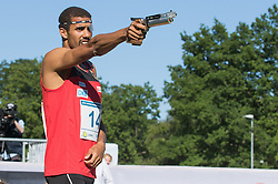 01.07.2015, Olympiapark, Berlin, GER, Moderner Fünfkampf WM, im Bild Patrick Vogue, Verein Potsdam // during Mens relay race of the the world championship of Modern Pentathlon at the Olympiapark in Berlin, Germany on 2015/07/01. EXPA Pictures © 2015, PhotoCredit: EXPA/ Eibner-Pressefoto/ Kleindl<br /> <br /> *****ATTENTION - OUT of GER*****