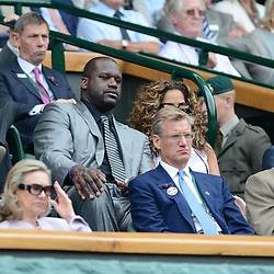 © Licensed to London News Pictures. 23/06/2014. Wimbledon, UK Shaquille O,Neal. Andrew Murray, GB defeats David Goffin, Belgium in the 1st round at the Wimbledon Tennis Championships 23rd June 2014. Photo credit : Mike King/LNP