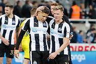 Newcastle United midfielder Matt Ritchie (11) celebrates with Newcastle United forward Dwight Gayle (9) during the EFL Sky Bet Championship match between Newcastle United and Burton Albion at St. James's Park, Newcastle, England on 5 April 2017. Photo by Richard Holmes.