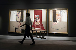 "© Licensed to London News Pictures. 06/03/2020. LONDON, UK.  Francis Bacon's monumental work ""Triptych Inspired by the Oresteia of Aeschylus"" is presented at Sotheby's New Bond Street.  With an estimate of USD60m, the painting forms the highlight of Sotheby's Contemporary Art Sale on May 13th in New York.  Photo credit: Stephen Chung/LNP"