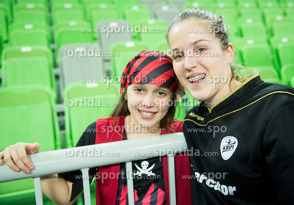 Alja Jankovic #21 of RK Krim Mercator with fans after the handball match between RK Krim Mercator (SLO) and RK Buducnost (MNE) in Round #3 of Main Round of EHF Women's Champions League 2014/15, on February 13, 2015 in Arena Stozice, Ljubljana, Slovenia. Photo by Vid Ponikvar / Sportida