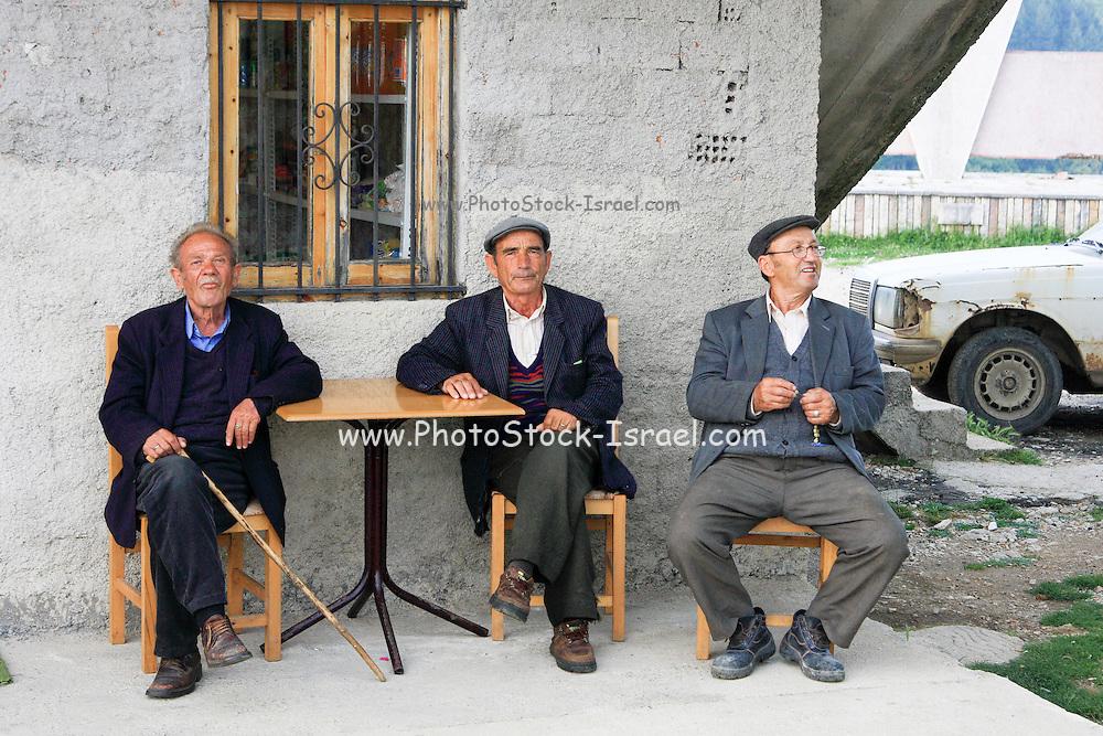 Albania, Himara, a group of local men