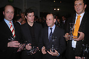 Tomasin Thierry, Guillame Gilpe, Pierre Baldelli and Max Sali. The Tatler Restaurant Awards in association with  Louis Roederer champagne.  The Four Seasons Hotel, Hamilton Place, London. 10 January 2004. ONE TIME USE ONLY - DO NOT ARCHIVE  © Copyright Photograph by Dafydd Jones 66 Stockwell Park Rd. London SW9 0DA Tel 020 7733 0108 www.dafjones.com